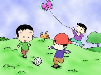 小孩画画风筝图